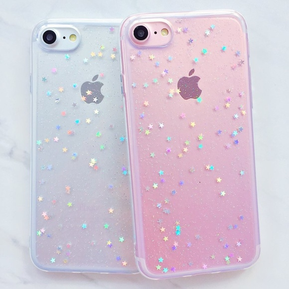 new style 67d1d 7657b iPhone Clear Glitter Star Case